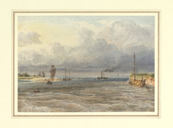 The river Ganges near Bhagalpur, the steamer 'Hooghly' on the river, Sept/Oct 1828